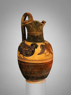"""""""Terracotta oinochoe (jug)"""" (ca. 525-500 BCE), attrib. to the Micali Painter. Etruscan, Late Archaic period. Posted on metmusem.org."""