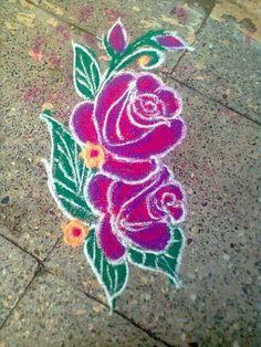 Roses Simple Rangoli Designs Images, Colorful Rangoli Designs, Rangoli Designs Diwali, Kolam Rangoli, Beautiful Rangoli Designs, Kolam Designs, Simple Flower Rangoli, Special Rangoli, Chalk Art