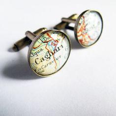 Map Cufflinks/Personalized Cuff Links  @Sarah Martin