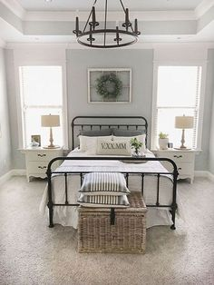 Guest bedroom Paint color is Sherwin Williams SW 7057 Silver Strand. Home Interior, Interior Design, Interior Paint, Farmhouse Master Bedroom, Upstairs Bedroom, Bedroom Rustic, Basement Bathroom, Small Bathroom, Home Decor Bedroom