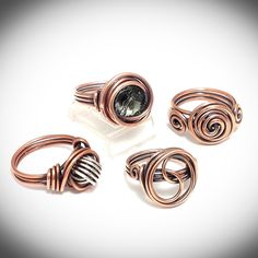 A sample of copper wire wrapped rings available at JCLwire Jewelry.