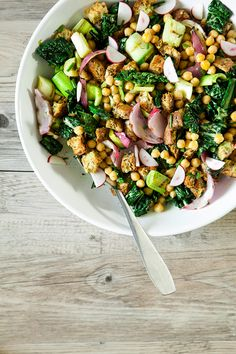 chickpea, spring onion + tuscan kale salad {a spring panzanella, revisited} » The First Mess
