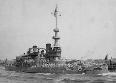 August 1898: USS Oregon arriving in New York following duty in the Spanish-American War.