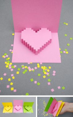 Heart popup card in Crafts for home stationery and paper for birthdays, anniversaries or dinners