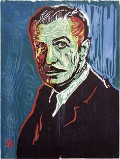 woodcut Portrait of Vincent Price (I) by German born printmaker Dirk Hagner