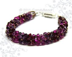 Swarovski armband zwart en amethist Swarovski kristal door candybead