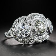 3.65 Carat Diamond and Platinum Art Deco Three-Stone Ring - Antique Engagement Rings ~ Vintage Engagement Rings - Engagement