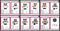 Bonitas tarjetas de números del 0 al 10 – Imagenes Educativas Kids Learning, Advent Calendar, Holiday Decor, 5 Years, Shape, Color By Numbers, Motor Skills