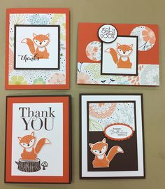 Trendy baby cards stampin up website Ideas Stampin Up Foxy Friends Cards, Foxy Friends Punch, Cards For Friends, Fall Cards, Holiday Cards, New Baby Cards, Stamping Up Cards, Animal Cards, Scrapbook Cards