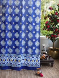 Moroccan Style Inspired Quatrefoil CURTAIN: These unique decorative tab top cotton voile sheer curtain panels are the perfect accent for a stylish yet relaxed living room, country cottage, bedroom, kitchen or bathroom window.. Curtains are printed on voile; a soft, light, gossamer cotton weave, with wonderful light filtering properties that incredibly, also provides much needed privacy.
