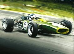 JIM CLARK ON LOTUS 49, 1968 FORMULA 1 WORLD CHAMPIONSHIP - Original Oil Painting on Canvas by Italy's Artist Andrea Del Pesco, size cm. 40x30