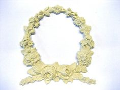 Architectural Carved Wreath with Roses Furniture Applique - Wood & Resin - Trims and Appliques - Flexible - Stainable - Paintable