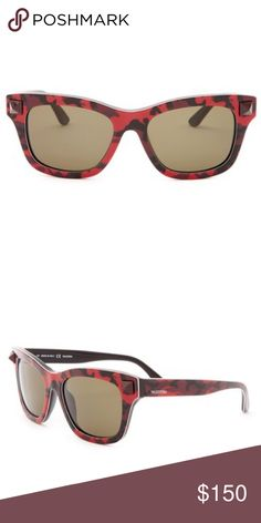 NIB Valentino Rockstud Camo Wayfarer Sunglasses Signature Rockstud accents and cool camo patterning elevate retro-chic Italian sunglasses finished with logo inlays at the temples. - Gender: Women's - Style: Wayfarer - Measurement: 53-18-140mm (eye-bridge-temple) - Frame color: Camo with studs: Fuchsia, Yellow, Orange, Red - Lens color: Green  - Frame material: Acetate - Lens type: Plastic - 100% UV protection - Case included - Made in Italy Valentino Accessories Sunglasses