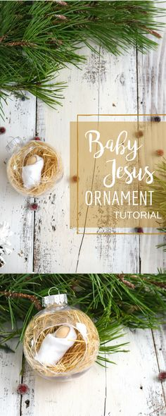 Your kids will love this baby Jesus ornament! Made from a clear ornament and dry grass from outdoors!