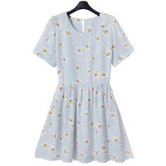 Vintage Style Daisy Print Pastel Blue Retro Skater Dress Goodnight Macaroon (345 HRK) found on Polyvore
