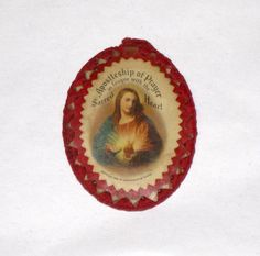 1936 Sacred Heart Of Jesus Oval Scapular / Holy by CookieGrandma60, $8.75