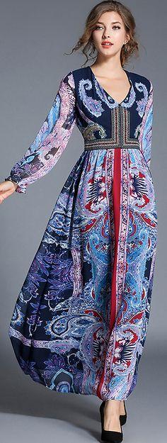 Vintage Deep V-Neck Long Sleeve Floral Print Maxi Dress