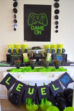 Game truck party, boy party games, xbox party, boys party ideas, boys b 9th Birthday Parties, Birthday Party Games, 13th Birthday, Birthday Party Decorations, Decoration Party, 9th Birthday Party Ideas For Boys, Double Digit Birthday Ideas, Boys Birthday Party Themes, Teen Boy Party