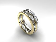 narrow filigree engagement ring set with diamonds in yellow and white gold
