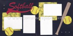 Softball Scrapbook Page Kit