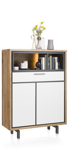 Otta, highboard with white fronts, 105 cm with LED-lighting & white fronts
