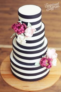 modern black and white striped wedding cake