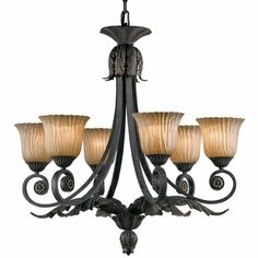 Vienna 6-light Weathered Bronze Chandelier  @Overstock - This unique Vienna chandelier light features a weathered bronze finish with antique ribbed, hand-painted Scavo glass shades. This six-light chandelier adds the perfect touch of flair to any room and decor.http://www.overstock.com/Home-Garden/Vienna-6-light-Weathered-Bronze-Chandelier/5886077/product.html?CID=214117 $364.99