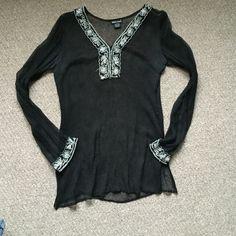 Shear swimsuit coverup/top Shear swimsuit coverup/top, slight snag in right arm Wet Seal Tops
