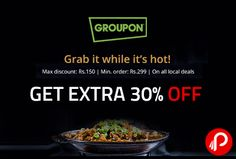Nearbuy (Groupon) offers Extra 30% off on All Local Deals. Max. Discount Rs.150, Min Order Rs.299. Just select the correct city and View all the local deal. 30% off Coupon Code – GETNOW  http://www.paisebachaoindia.com/get-extra-30-off-on-all-local-deals-nearbuy-groupon/