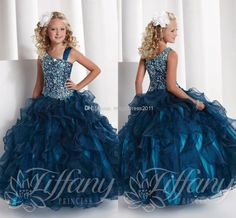 Cheap Formal Dresses - Discount 2014 New SPaghetti Bling Little Girl's Pageant Dresses Ball Gown Glitz Cheap Organza Crystals Appliques Baby Dress For Girls Kids Party Online with $99.44/Piece on Magicdress2011's Store | DHgate.com