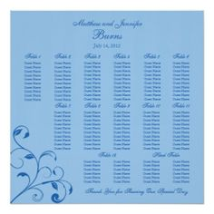 Blue Wedding Reception Guest Seating Chart Poster