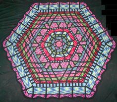 """Ravelry: franknjim's Panes of Change My 4th design completed. 71"""" x 81"""", eight colors plus black, tapestry crochet."""