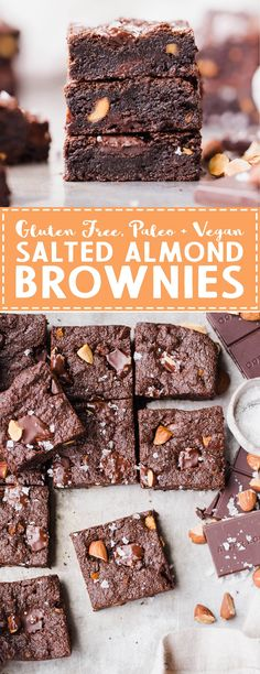 never guess these super fudgy Salted Almond Brownies are gluten-free, paleo and vegan, because they taste just as good as a traditional brownie! They're incredibly fudgy and chocolatey and the toasted almonds and sea salt make them even better. Gluten Free Cookies, Gluten Free Desserts, Vegan Desserts, Fun Desserts, Delicious Desserts, Vegan Recipes, Paleo Vegan, Alkaline Recipes, Diabetic Desserts