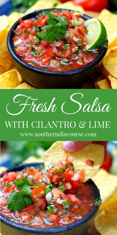 Fresh Salsa with Cilantro Lime - a southern discourse Fresh Salsa Recipe, Tomato Salsa Recipe, Cilantro Recipes, Cilantro Salsa, Vegetarian Mexican Recipes, Mild Salsa, Appetizer Recipes, Vegetarian Appetizers, Appetizer Dips