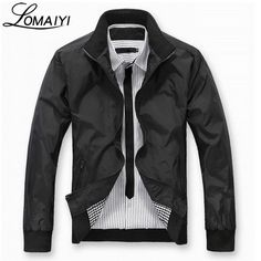 LOMAIYI 2018 Spring Summer Men's Casual Jacket Men Business Blue Slim Fit Coat Mens Thin Windbreaker Male Black Jackets,BM041
