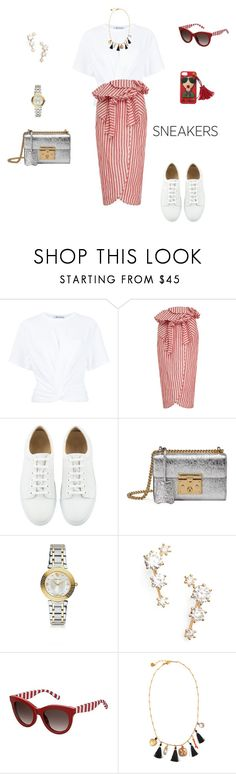 """""""So fresh: White sneakers"""" by sebolita ❤ liked on Polyvore featuring T By Alexander Wang, Johanna Ortiz, Gucci, Versace, Nadri, Tommy Hilfiger and Gas Bijoux"""