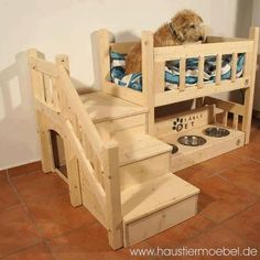 doggie bed w/steps, food, and water bowls...love!