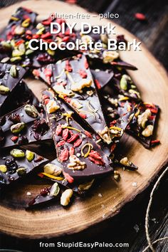 Dark Chocolate Bark with Dried Fruit is the perfect simple recipe for DIY paleo holiday gift giving. Create your own delicious flavor combos! | StupidEasyPaleo.com