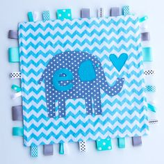 Personalized Baby Ribbon Lovey Blanket - Elephant in gray, white and aqua