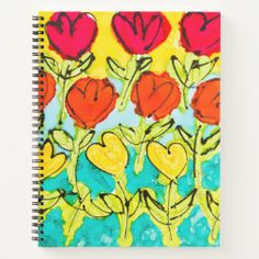 Lovitude Journal Coming Up Tulips Notebook Covers, Page Design, Your Image, Tulips, Spiral, Original Art, Journal, Ink, Make It Yourself