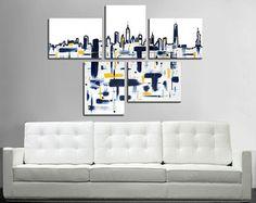 San Francisco skyline painting. 41x64 5 piece canvas por JoDiquez