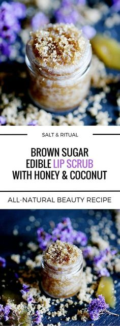 DIY Masque : Description Incredibly sweet edible lip scrub with only three ingredients: brown sugar, coconut oil and raw honey. An all natural lip polish DIY. Tastes like cake batter! Sugar Scrub Recipe, Sugar Scrub Diy, Diy Scrub, Sugar Scrubs, Zucker Schrubben Diy, Diy Cosmetic, Diy Masque, Natural Beauty Recipes, Coconut Oil Uses