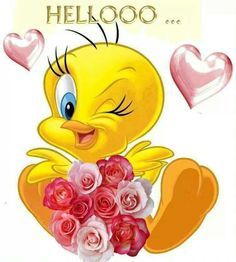 ❤️ CUTE  TWEETY  BIRD !!❤️ Hello Good Morning, Good Morning Happy Friday, Morning Greetings Quotes, Good Morning Messages, Tweety Bird Quotes, Thinking Of You Quotes, Friday Pictures, Smiley Emoji, Hello Friday