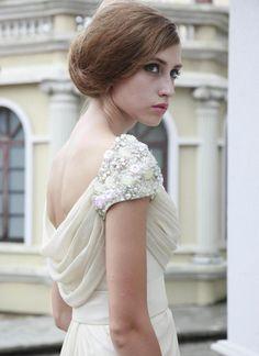 Off-white Prom Dress - Vintage Ivory Cowl Wedding Dress   UsTrendy
