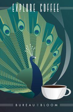 Art Deco coffee poster with a peacock. Poster Art, Retro Poster, Kunst Poster, Art Deco Posters, Art Deco Illustration, Art Nouveau, Pub Vintage, Vintage Art, Swimming Posters