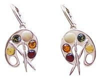 Silver Artist Palette Earrings with Amber