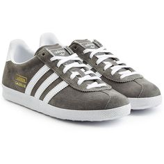 Adidas Originals Suede Gazelle Sneakers (585 CNY) ❤ liked on Polyvore featuring shoes, sneakers, grey, suede leather shoes, suede shoes, grey suede shoes, suede sneakers and striped shoes