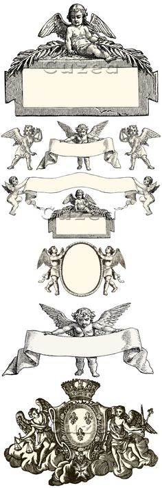 Vintage Cupid Labels and Frames