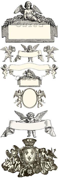 Vintage Cupid Labels and Frames