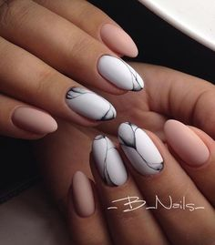 Nude and grey matte gel nails 2018 - LadyStyle